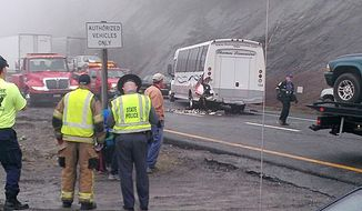 This image provided by WXII-TV (Channel 12) news shows the scene following a 75-vehicle pileup on Interstate 77 near the Virginia-North Carolina border in Galax, Va., on Sunday, March 31, 2013. Virginia State Police say three people have been killed and more than 20 injured. (AP Photo/WXII-TV, William Bottomley)