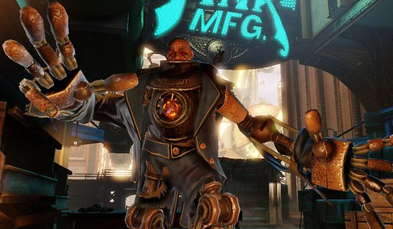 A Handyman attacks in the video game Bioshock Infinite.