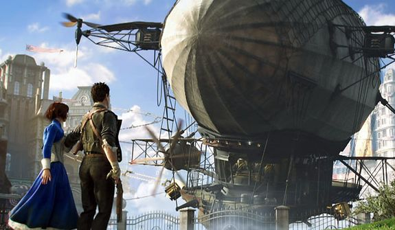 Elizabeth, Booker DeWitt and a large Zeppelin in the first person shooter Bioshock Infinite.