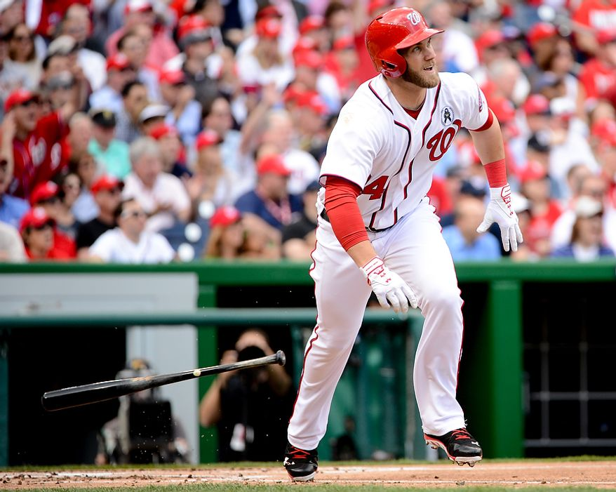 Washington Nationals left fielder Bryce Harper (34), hits a solo home run in the first inning as the Washington Nationals play the Miami Marlins on opening day at Nationals Park, Washington, D.C., Monday, April 1, 2013. (Andrew Harnik/The Washington Times)
