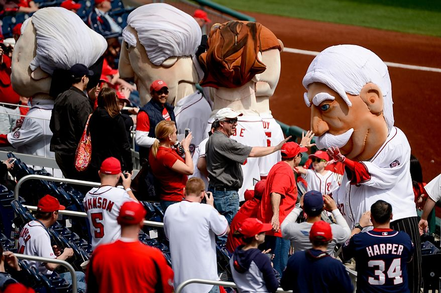 """The Nationals introduce """"Bill"""" (William Howard Taft) as the newest addition to the running presidents on opening day as the Washington Nationals beat the Miami Marlins 2-0 at Nationals Park, Washington, D.C., Monday, April 1, 2013. (Andrew Harnik/The Washington Times)"""