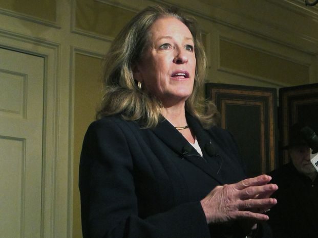 **FILE** Elizabeth Colbert Busch answers questions in Charleston, S.C., on Feb. 11, 2013. The sister of comedian Stephen Colbert is now one of two Democrats seeking the seat in a congressional primary along the South Carolina coast. (Associated Press)