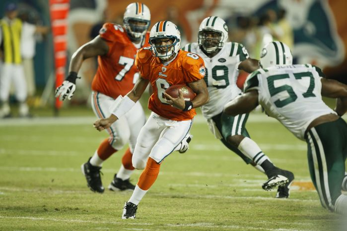 Miami Dolphins quarterback Pat White (6)is seen during the fourth quarter of an NFL football game against the New York Jets in Miami, Monday, Oct. 12, 2009. (AP Photo/Wilfredo Lee