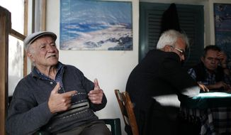 In this photo taken Sunday, March 24, 2013, Selcuk Ekendal, 72, speaks to The Associated Press inside a coffee shop in the Turkish Cypriot part of the divided capital Nicosia. (AP Photo/Petros Giannakouris)
