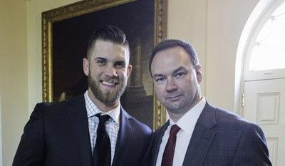 Washington Nationals outfielder Bryce Harper, pictured here with Thomas Tull, one of the producers of '42,' attended a reception at the White House on Tuesday to meet President Obama and screen the move, which is about Jackie Robinson breaking the color barrier in baseball. (Alba V. Tull photo)