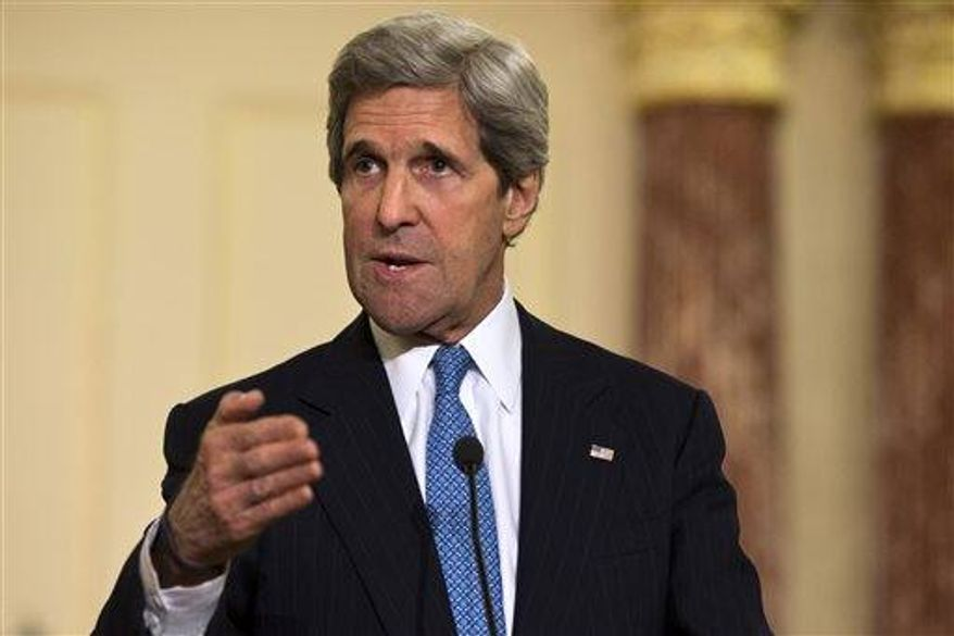 U.S. Secretary of State John Kerry speaks at a news conference with South Korean Foreign Minister Yun Byung-Se, not pictured, at the State Department in Washington, on Tuesday, April 2, 2013. (AP Photo/Jacquelyn Martin)