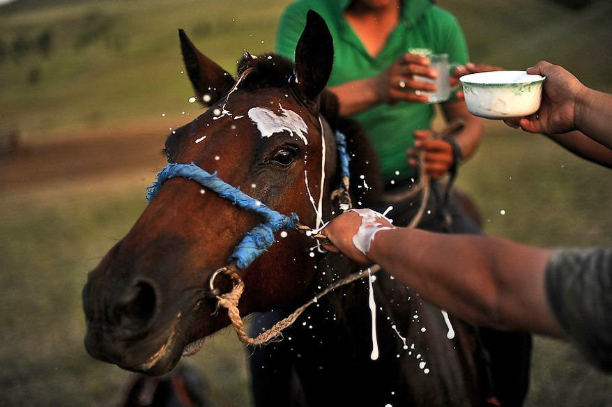 "Milk is poured over the head of the winning horse as a sign of good luck after a race at the Mongolian Border Forces camp near the Russian border. Horses are greatly cherished in Mongolian culture, especially by the nomads because horses are very useful to people's daily lives and livelihood. Horse racing is the second most popular event in Mongolia, after traditional wrestling.  There is a traditional saying in Mongolian: ""A Mongol without a horse is like a bird without the wings.""   (U.S. Air Force photo by Tech. Sgt. Jeremy T. Lock)"