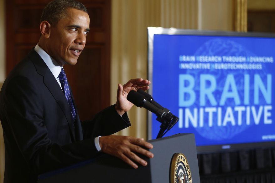President Obama speaks about the BRAIN (Brain Research through Advancing Innovative Neurotechnologies) Initiative on April 2, 2013, in the East Room at the White House. (Associated Press)