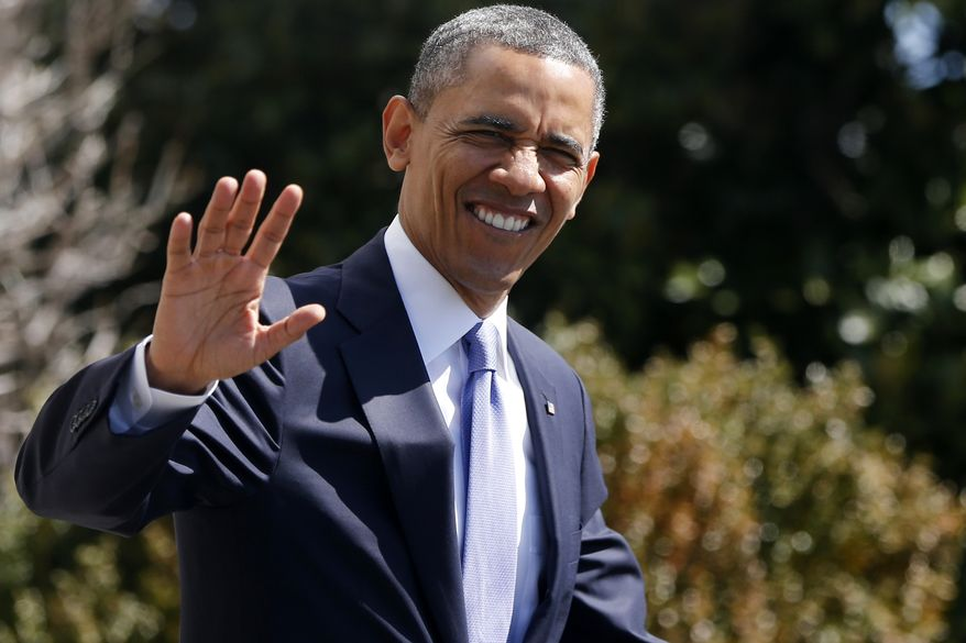 President Obama waves as he walks to board the Marine One helicopter on the South Lawn at the White House in Washington on April 3, 2013, as he travels to Denver and San Francisco. (Associated Press)