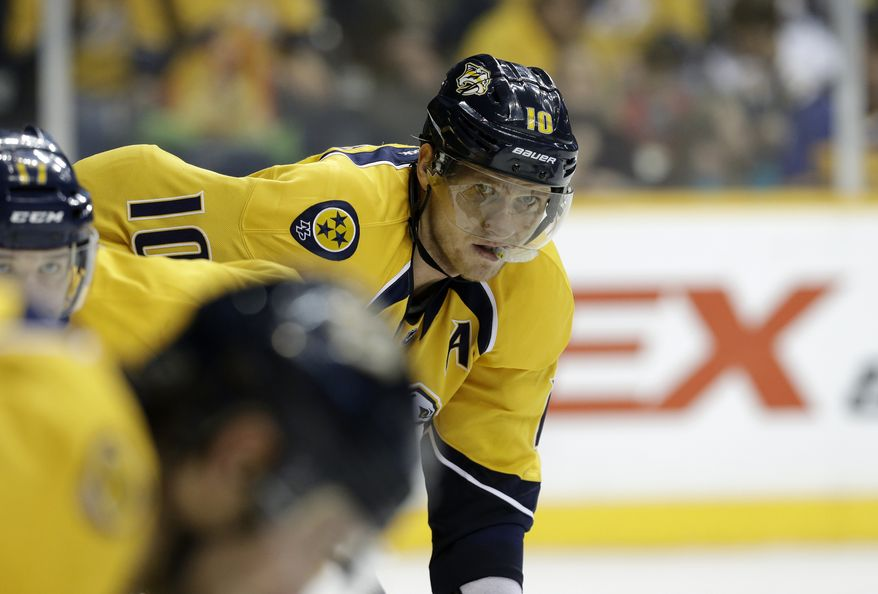 Nashville Predators left wing Martin Erat, of the Czech Republic, waits for a face-off in the third period of an NHL hockey game against the Edmonton Oilers on Monday, March 25, 2013, in Nashville, Tenn. The Predators won 3-2. (AP Photo/Mark Humphrey)