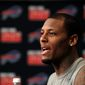 **FILE** Buffalo Bills WR Stevie Johnson speaks at the start of the team's voluntary off-season conditioning program at the team's NFL football training facility in Orchard Park, N.Y., on April 2, 2013. (Associated Press)