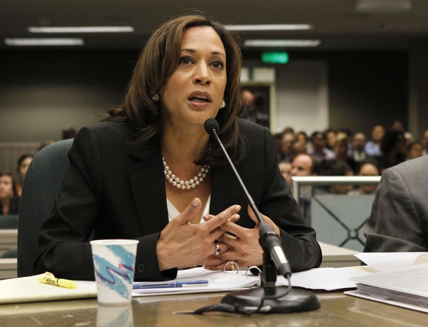 **FILE** California Attorney General Kamala Harris appears May 10, 2012, before an Assembly committee at the Capitol in Sacramento, Calif. (Associated Press)
