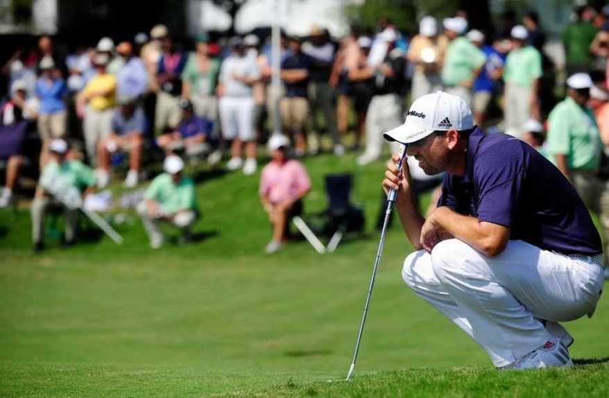 Sergio Garcia lamented his inability to win on golf's biggest stages after he tied for 12th in last year's Masters. One shot out of the 36-hole lead, he shot 75 on Saturday. (Sara Caldwell / The Augusta Chronicle)