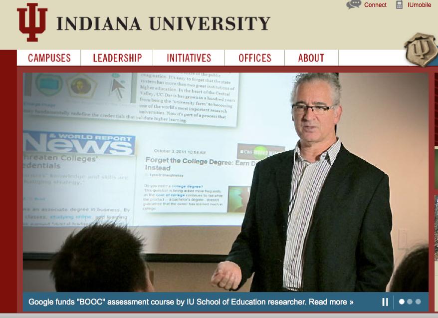 (Screen shot of Indiana University's website)