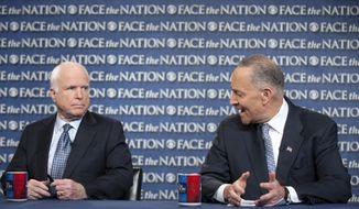 "**FILE** Sens. John McCain (left), Arizona Republican, and Sen. Charles E. Schumer, New York Democrat, appear on CBS' ""Face the Nation"" on April 7, 2013. (Associated Press/CBS News)"