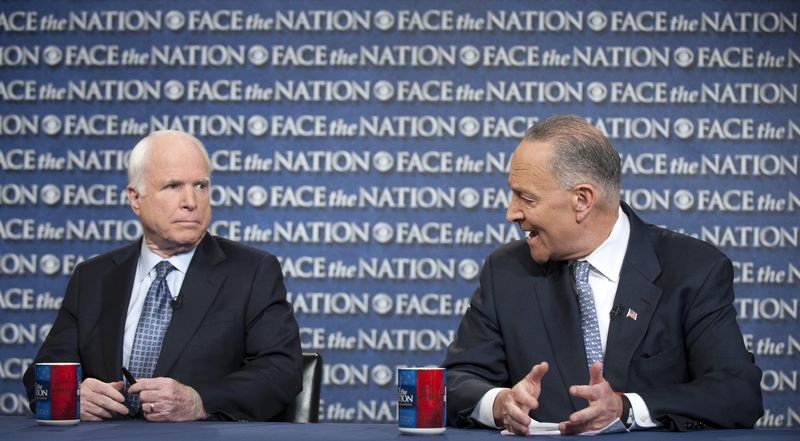 "**FILE** Sens. John McCain (left), Arizona Republican, and Sen. Charles E. Schumer, New York Democrat, appear on CBS' ""Face the Nation"" on April 7, 2013. (Associated Press/CBS News)"
