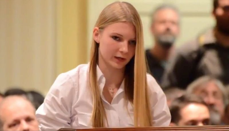 Sarah Merkle, 15, has been hailed by gun rights supporters for her poise in making the argument against restrictions on gun ownership. (YOUTUBE)