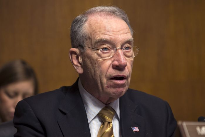 **FILE** Sen. Chuck Grassley, Iowa Republican, on Capitol Hill in Washington on March 18, 2013. (Associated Press)
