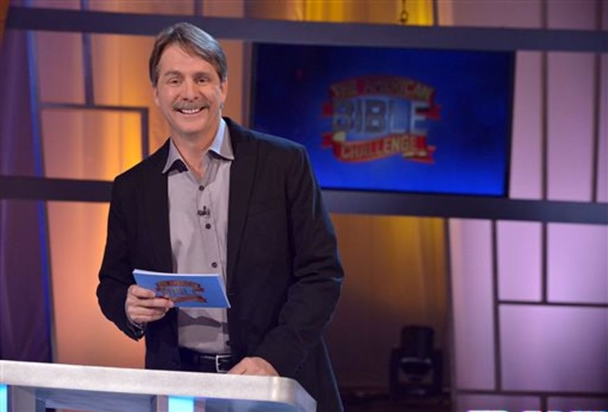 "The Game Show Network looks to build on the success of ""The American Bible Challenge,"" hosted by Jeff Foxworthy (shown here on the set of the runaway hit), with a church-based dating show it's developing called ""It Takes a Church,"" where church parishioners compete to find a love interest for a single member of the congregation. (AP Photo/Game Show Network, Lisa Rose)"
