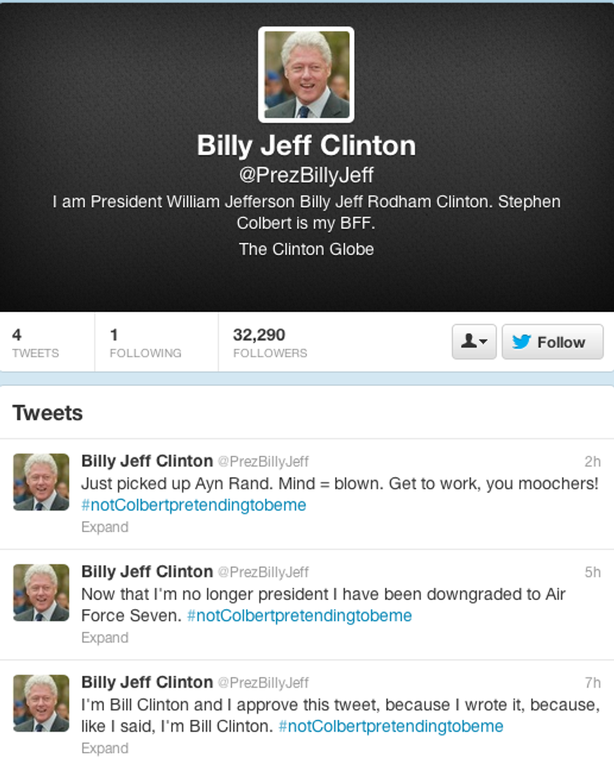 A screen grab of former President Bill Clinton's faux Twitter account for comedian Stephen Colbert.