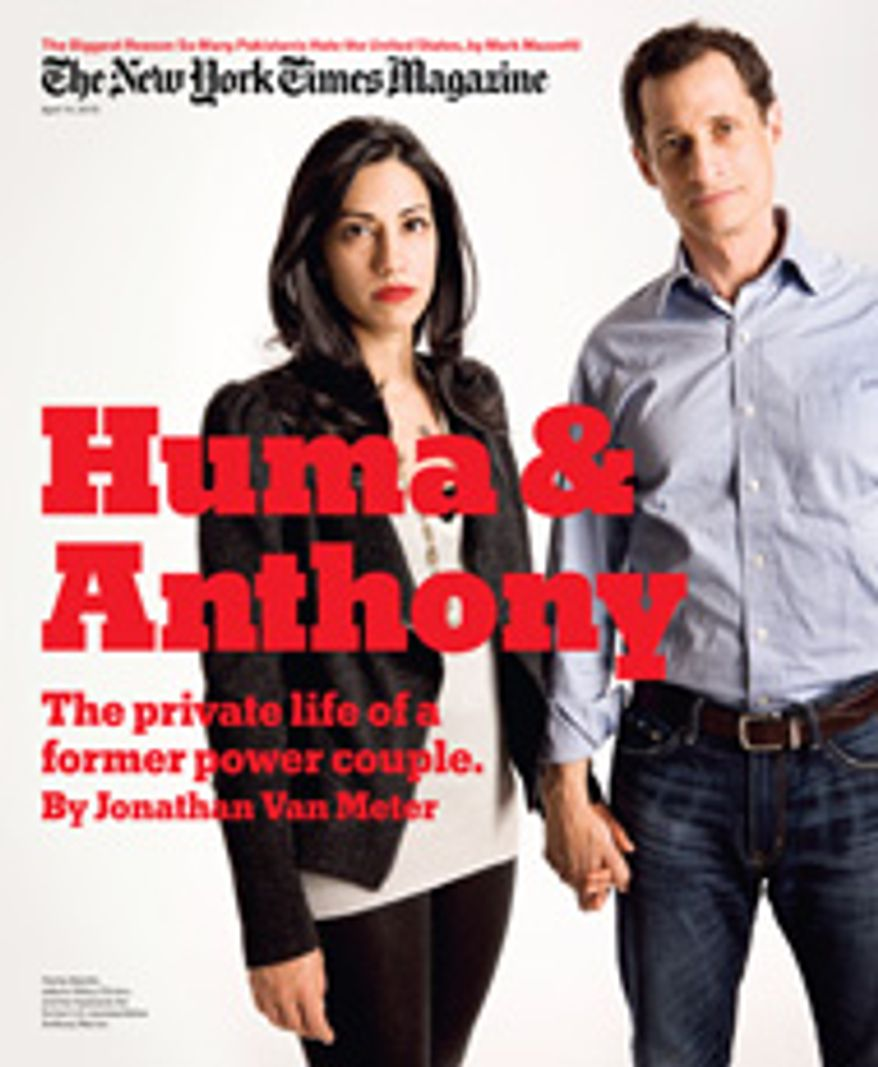 Disgraced former New York congressman Anthony Weiner and his wife Huma Abedin revealed their personal side of the 29011 texting scandal to The New York Times on Wednesday in a lengthy cover story. (Image from The New York Times)