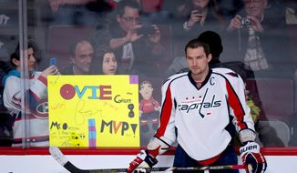 Washington Capitals' Alex Ovechkin is the center of attention during the pre-game warm-up as they get ready to face the Montreal Canadiens in NHL hockey action Tuesday, April 9, 2013 in Montreal. (AP Photo/The Canadian Press, Paul Chiasson)
