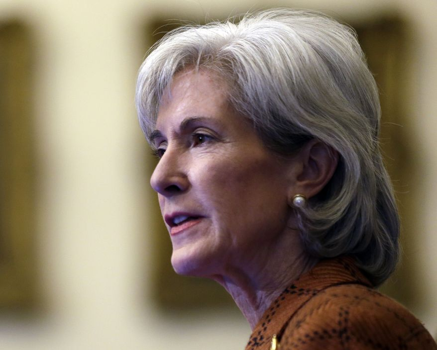 **FILE** Human Services Secretary Kathleen Sebelius speaks Feb. 20, 2013, in Philadelphia. (Associated Press)