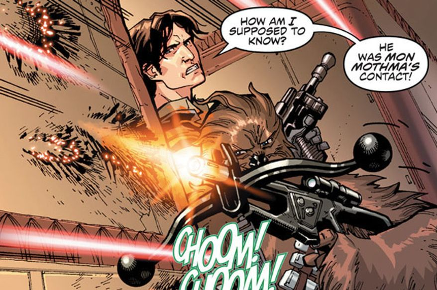 Han Solo and Chewbacca aare in trouble again in the sequential art series Star Wars from Dark Horse Comics.