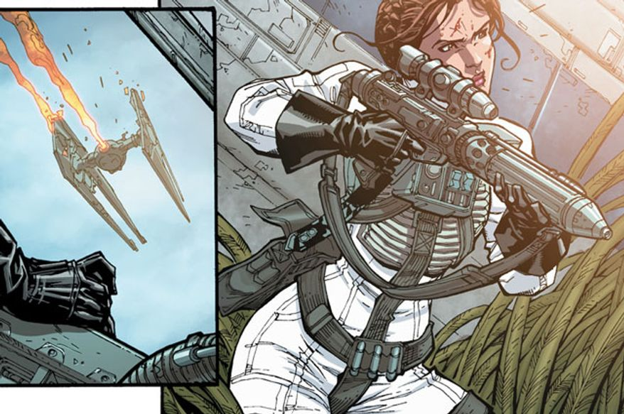 Princess Leia Organa is ready for a firefight in the sequential art series Star Wars from Dark Horse Comics.