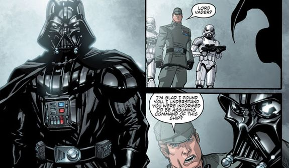 Darth Vader is a very grumpy Sith Lord in the sequential art series Star Wars from Dark Horse Comics.