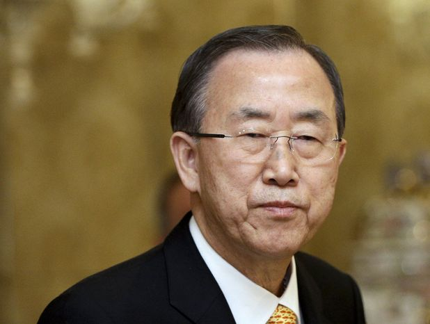 ** FILE ** U.N. Secretary-General Ban Ki-moon attends a media briefing at a hotel in Rome following his private audience with Pope Francis at the Vatican, Tuesday, April 9, 2013. (AP Photo/Alessandra Tarantino)