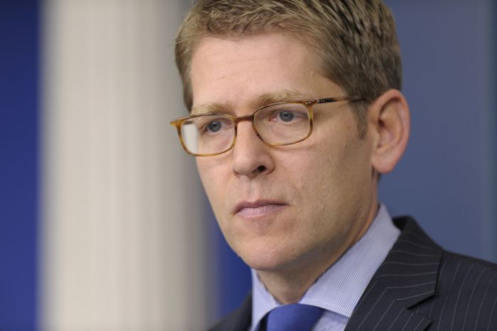 White House press secretary Jay Carney gives the daily briefing at the White House in Washington on Thursday, April 11, 2013. (AP Photo/Susan Walsh)