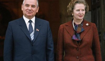 """** FILE ** In this Dec. 15, 1984, file photo, Mikhail S. Gorbachev poses with Britain's Prime Minister Margaret Thatcher in London. Ex-spokesman Tim Bell says that Thatcher has died. She was 87. Bell said the woman known to friends and foes as """"the Iron Lady"""" passed away Monday morning, April 8, 2013. (AP Photo/File)"""