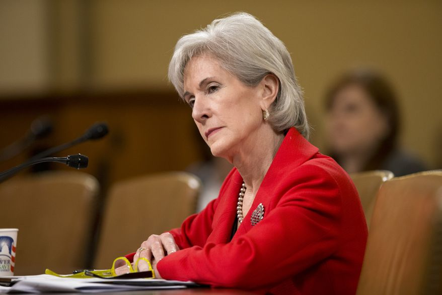** FILE ** Health and Human Services Secretary Kathleen Sebelius testifies on Capitol Hill in Washington on Friday, April 12, 2013, before a House Ways and Means Committee hearing on President Obama's budget proposal for the HHS for fiscal 2014. (Associated Press)