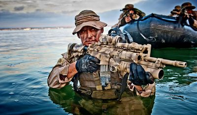 "MISSION-READY: ""United States Naval Special Warfare"" by Greg E. Mathieson Sr. (top) gives readers a close-up look at the rigorous training of Navy SEALs, who work in the shadows to kill America's enemies such as Osama bin Laden. (Greg E. Mathieson Sr.)"