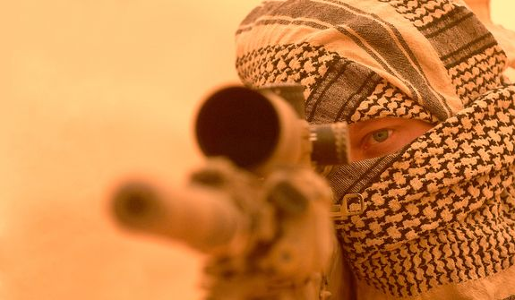 A US Navy SEAL Sniper in Iraq.