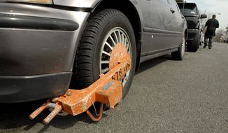 """Removing an attached """"boot"""" costs $75 in Washington, D.C., but if the car is also towed, that's an additional $100  and that doesn't count the $40 per day at the impound lot, or having to pay the outstanding tickets and late fees. (The Washington Times)"""