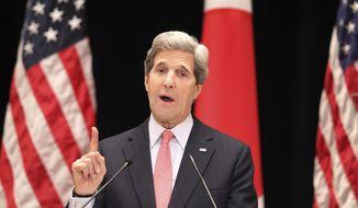 U.S. Secretary of State John F. Kerry speaks to students at the Tokyo Institute of Technology in Tokyo on Monday, April 15, 2013. (AP Photo/Junji Kurokawa, Pool)