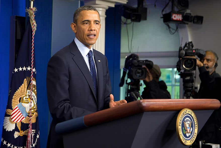 ** FILE ** President Barack Obama speaks in the James Brady Press Briefing Room at the White House in Washington, Monday, April 15, 2013, following the explosions at the Boston Marathon.  (AP Photo/Manuel Balce Ceneta)