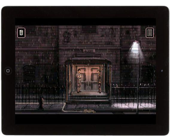 The rain never seems to stop in the sci-fi noir iPad game Gemini Rue.