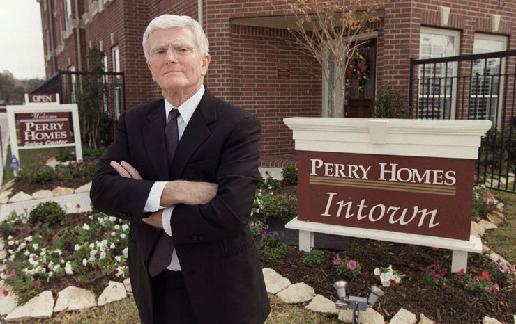** FILE ** This is a Dec. 10, 2002, file photo of Houston homebuilder Bob Perry, posing at the sales center at one of his Houston developments. Perry died Saturday night April 14, 2013, former Texas state Rep. Neal Jones, a close family friend, said late Sunday. He was 80. (AP Photo/Houston Chronicle, Melissa Phillip, File)