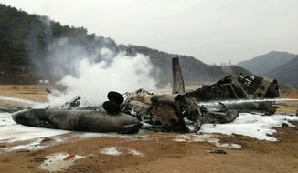 """The wreckage of a U.S. Marine helicopter CH-53E Super Stallion helicopter smolders after it made a """"hard landing"""" during an exercise called SsangYong, a Korean Marine Exchange Program and part of the Foal Eagle exercise in Chulwon, north of Seoul, South Korea, Tuesday, April 16, 2013. Twenty-one personnel were on board the helicopter, including five crew members, according to a statement from United States Forces Korea. All were taken to the hospital, but 15 were quickly released. The remaining six were in stable condition. (AP Photo/Yonhap) KOREA OUT"""