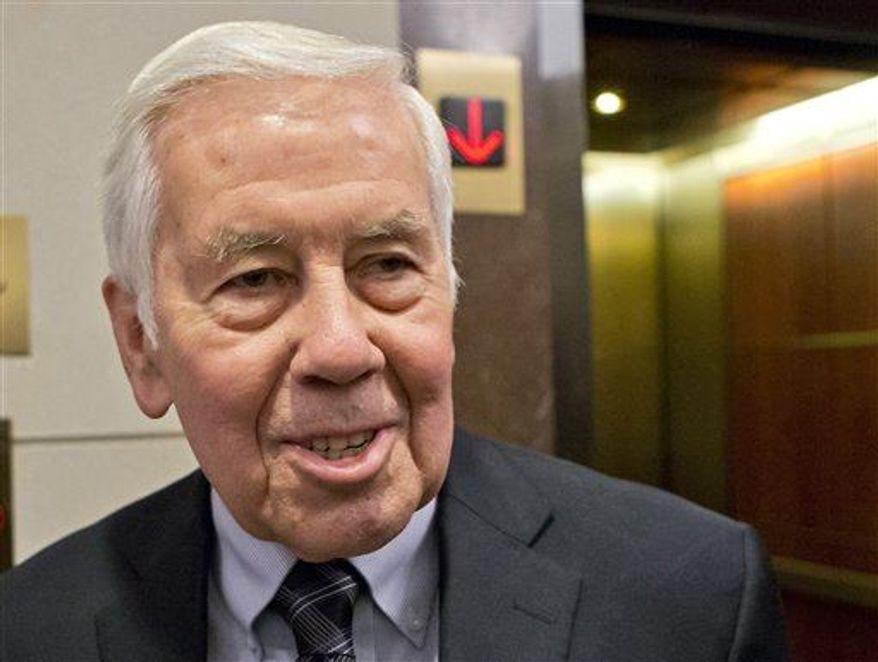 Then-Sen. Richard Lugar, R-Ind. is seen on Capitol Hill in Washington, Nov. 13, 2012. (Associated Press)