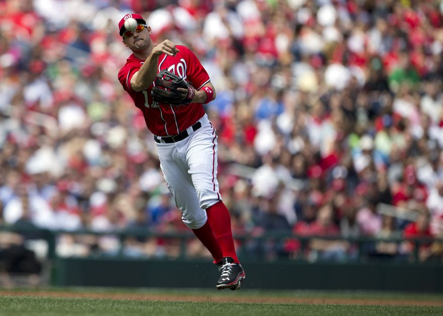 Washington Nationals infielder Ryan Zimmerman makes a throwing error with two outs iin the third inning of a baseball game against the Atlanta Braves at Nationals Park on Saturday, April 13, 2013, in Washington. The error led to a two-run home run by the next batter, Evan Gattis. (AP Photo/Evan Vucci)
