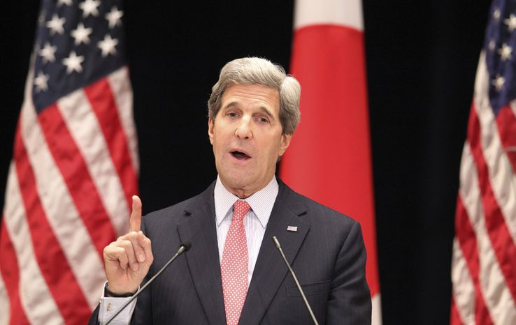 ** FILE ** U.S. Secretary of State John Kerry speaks during his lecture to students at Tokyo Institute of Technology in Tokyo, Monday, April 15, 2013. (AP Photo/Junji Kurokawa, Pool)