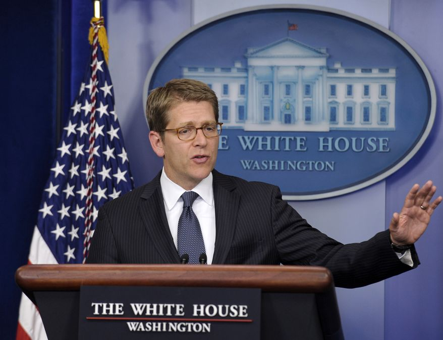 White House press secretary Jay Carney speaks during the daily briefing at the White House on April 17, 2013. (Associated Press)