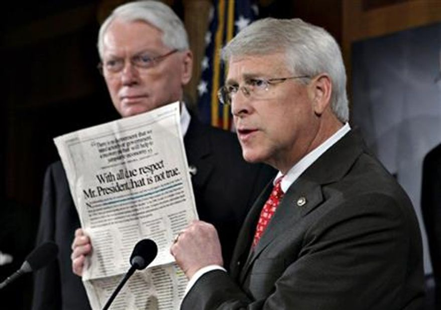 ** FILE ** Sen. Roger Wicker, R-Miss., speaks during a news conference at the Capitol in Washington, Jan., 2009. Senate Majority Leader Reid said Tuesday, April 16, 2013, that letter with ricin or another poison was sent to Wicker. (AP Photo/J. Scott Applewhite, File)