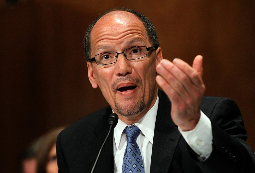 Labor Secretary nominee Thomas Perez testifies on Capitol Hill in Washington on April 18, 2013, before the Senate Health, Education, Labor and Pensions Committee hearing on his nomination. (Associated Press)
