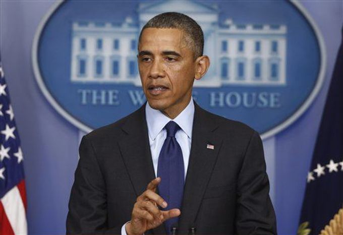 President Obama speaks in the Brady Press Briefing Room at the White House in Washington on Friday, April 19, 2013. (Associated Press)