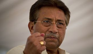 ** FILE ** Former Pakistani President Pervez Musharraf addresses his party supporters on April 15, 2013, at his house in Islamabad. (Associated Press)